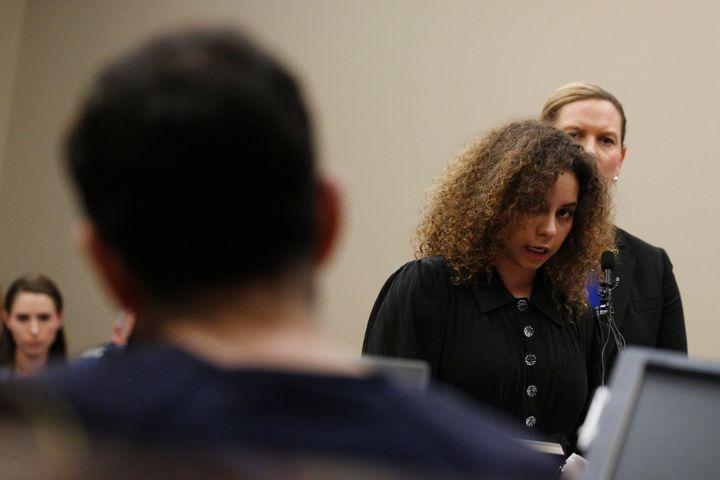 Survivor Mattie Larson delivers her victim impact statement to Larry Nassar in court on Jan. 23, 2018.