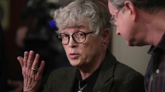 LANSING, MI - JANUARY 17:  Michigan State University (MSU) President Lou Anna Simon answers a question after being confronted by former MSU gymnast Lidsey Lemke during a break in the sentencing hearing for Larry Nassar who has been accused of molesting more than 100 girls while he was a physician for USA Gymnastics and Michigan State University where he had his sports-medicine practice on January 17, 2018 in Lansing, Michigan. Nassar has pleaded guilty in Ingham County, Michigan, to sexually assaulting seven girls, but the judge is allowing all his accusers to speak. Nassar is currently serving a 60-year sentence in federal prison for possession of child pornography.  (Photo by Scott Olson/Getty Images)