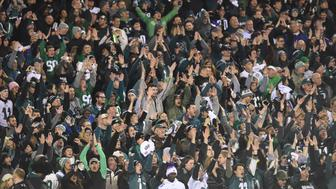 PHILADELPHIA, PA - JANUARY 21: Philadelphia Eagles fans do the Skol chant during the NFC Championship game between the Philadelphia Eagles and the Minnesota Vikings on January 21, 2017 at Lincoln Financial Field in Philadelphia, PA. Eagles won 38-7.(Photo by Andy Lewis/Icon Sportswire via Getty Images)