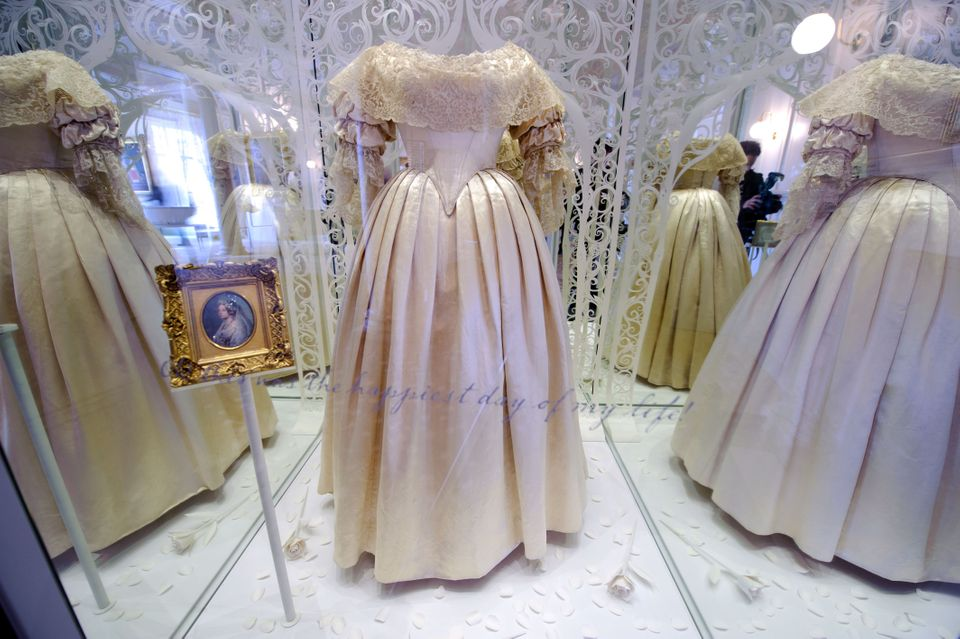 Queen Victoria's wedding dress on display in Kensington Palace.  The choice of a white wedding...