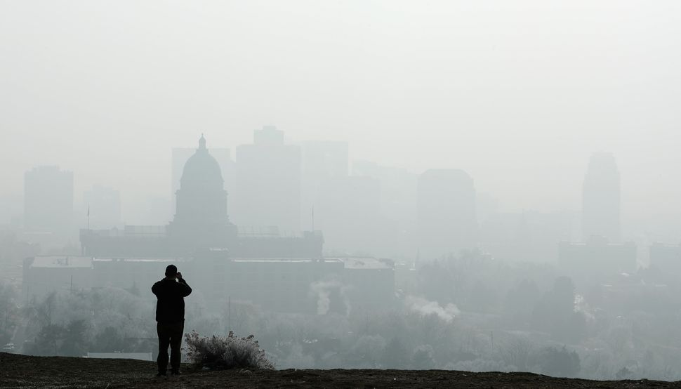 The Utah Capitol is shrouded in smog in downtown Salt Lake City, Utah, in December.