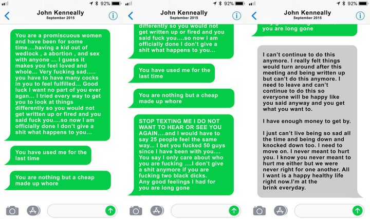These texts from John Kenneally to Page Zeringue cameshortly before she was fired for so-called performance issues.