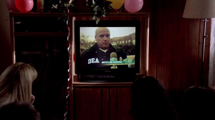 Guests at Walt's 50th birthday party watch his brother-in-law Hank Schrader (Dean Norris) discuss a meth lab bust on TV