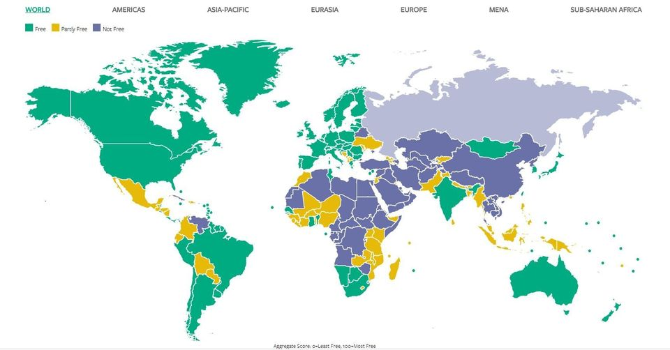 Freedom in the World 2018 Index, Freedom