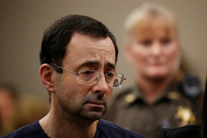 Larry Nassar during his sentencing hearing on Wednesday.
