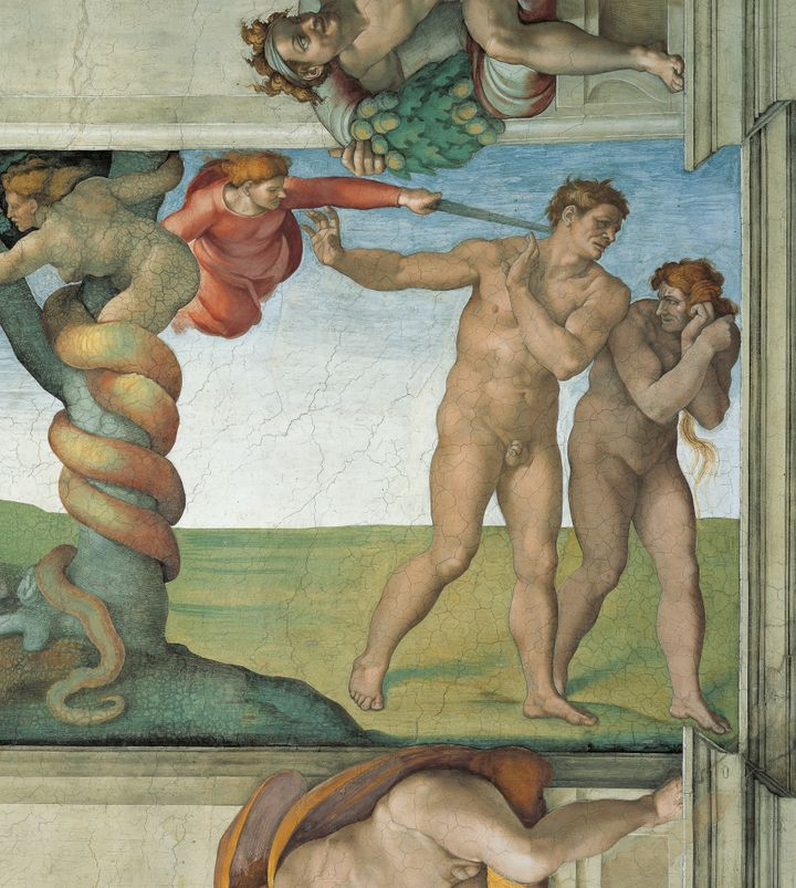 A detail from the Sistine Chapel in the Vatican shows Adam and Eve being banished from the Garden of Eden.