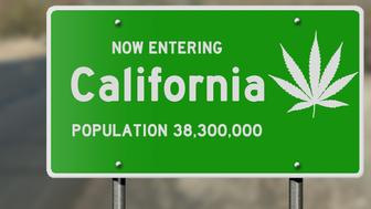 Illustration showing 'now entering California' highway sign with marijuana leaf, relevant to political issues relating to marijuana use and legalization