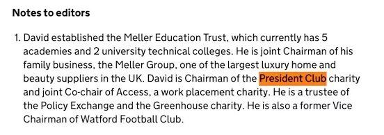 Presidents Club Chair David Meller Donated £3,250 To Michael Gove's Leadership