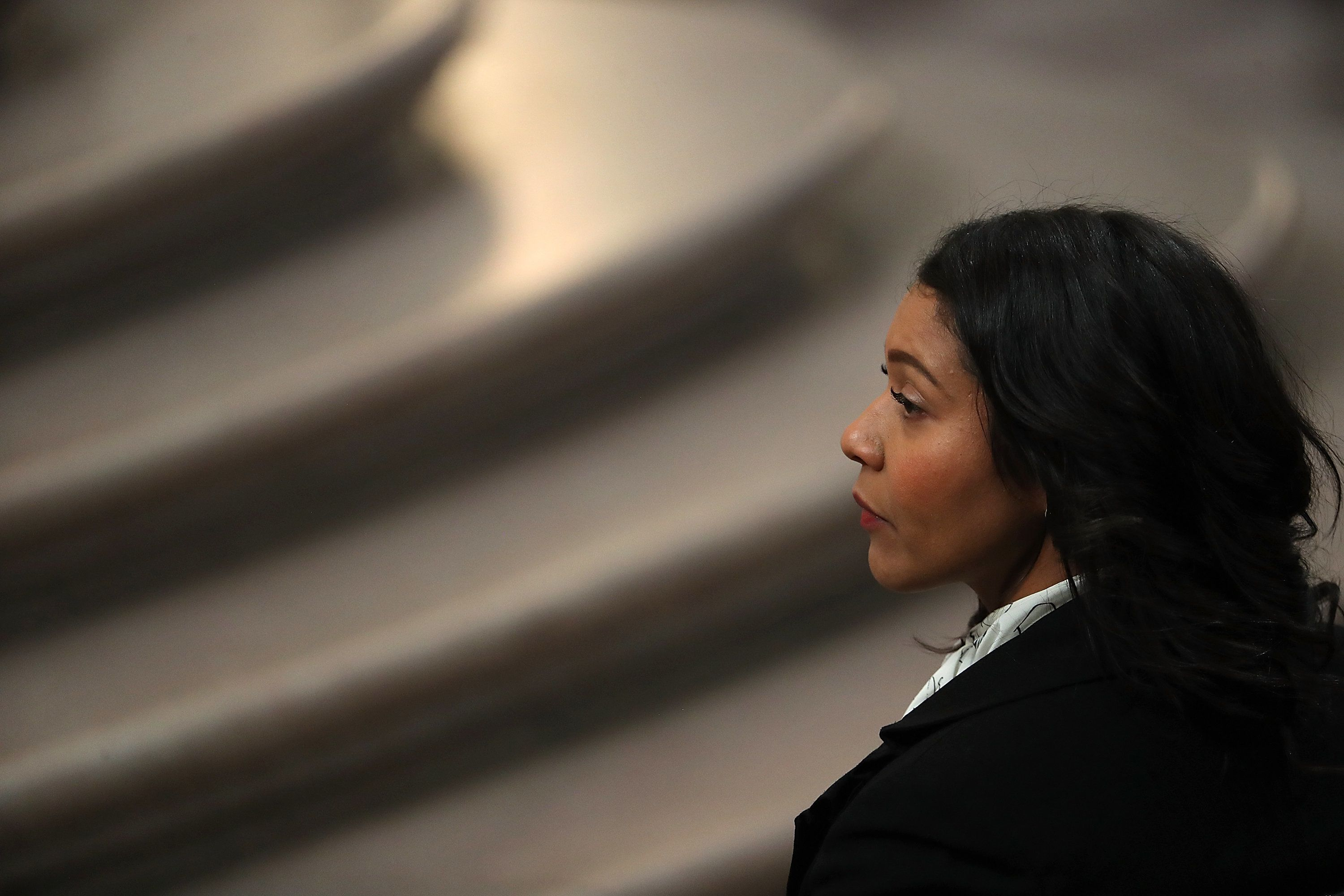 SupervisorLondon Breed looks on during a memorial for the late Mayor Ed Lee.