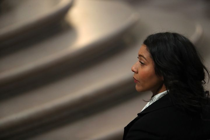 Supervisor London Breed looks on during a memorial for the late Mayor Ed Lee.