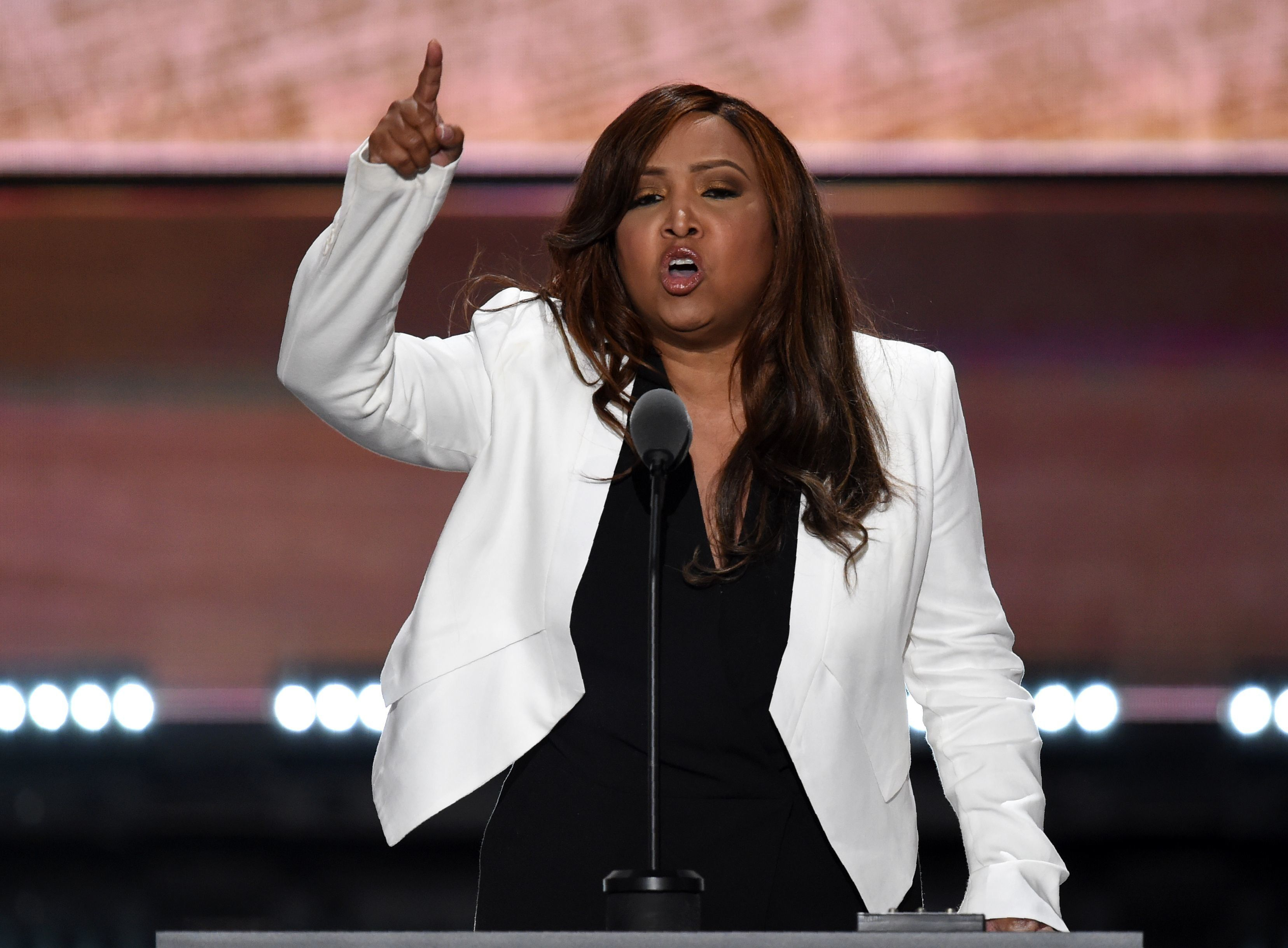 Vice President of The Eric Trump Foundation, Lynne Patton, speaks on the third day of the Republican National Convention in Cleveland, Ohio, on July 20, 2016. / AFP / Timothy A. CLARY        (Photo credit should read TIMOTHY A. CLARY/AFP/Getty Images)