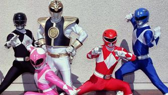 The Mighty Morphin Power Rangers strike a pose after a press preview of their live performance tour October 20 at Universal Amphitheatre