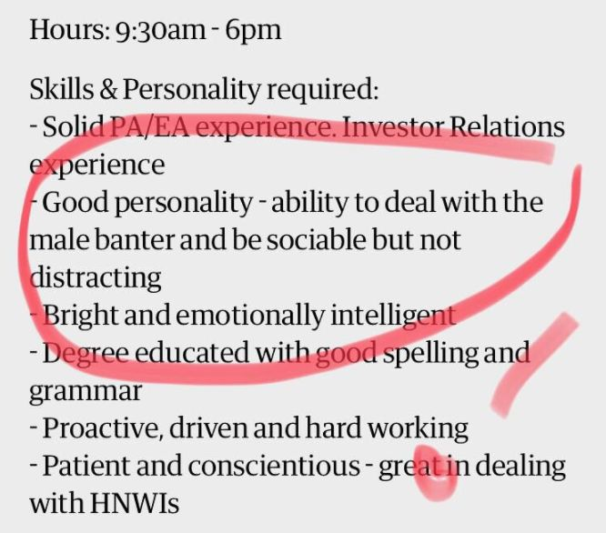 Job Advert Slammed For Saying Candidates Must Have 'Ability To Deal With Male