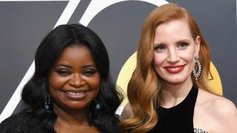BEVERLY HILLS, CA - JANUARY 07:  75th ANNUAL GOLDEN GLOBE AWARDS -- Pictured: Actors Octavia Spencer (L) and Jessica Chastain arrive to the 75th Annual Golden Globe Awards held at the Beverly Hilton Hotel on January 7, 2018.  (Photo by Kevork Djansezian/NBC/NBCU Photo Bank via Getty Images)