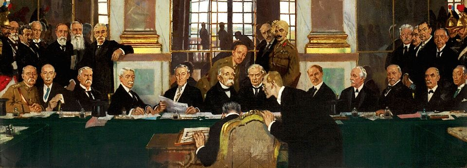 Johannes Bell of Germany is portrayed signing the peace treaties on 28 June 1919 in The Signing...