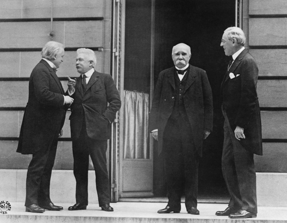 Prime Minister Lloyd George of Great Britain, Prime Minister Orlando of Italy, Premier Clemenceau of...