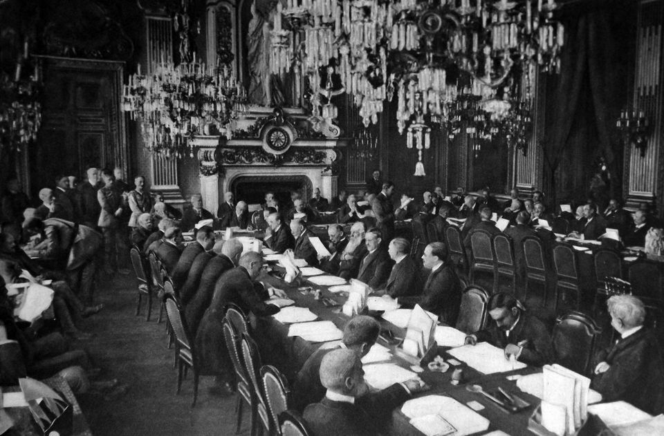 opening session of the Versailles Peace conference at the Trianon Palace january 1919. (Photo by Universal...