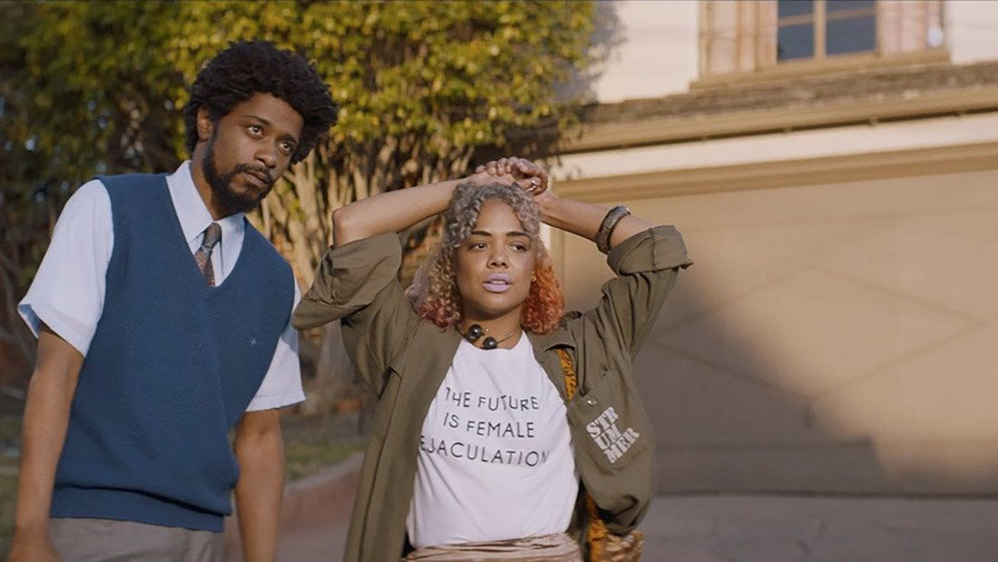 Lakeith Stanfield and Tessa Thompson appear in <i>Sorry to Bother You</i> by Boots Riley, an official selection of the U.S. Dramatic Competition at the 2018 Sundance Film Festival. Courtesy of Sundance Institute | photo by Doug Emmett.  All photos are copyrighted and may be used by press only for the purpose of news or editorial coverage of Sundance Institute programs. Photos must be accompanied by a credit to the photographer and/or 'Courtesy of Sundance Institute.' Unauthorized use, alteration, reproduction or sale of logos and/or photos is strictly prohibited.