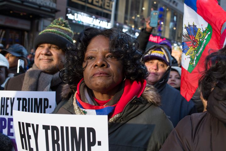 Haitian immigrants mark Martin Luther King Day by attending a rally to protest against President Donald Trump's immigration p