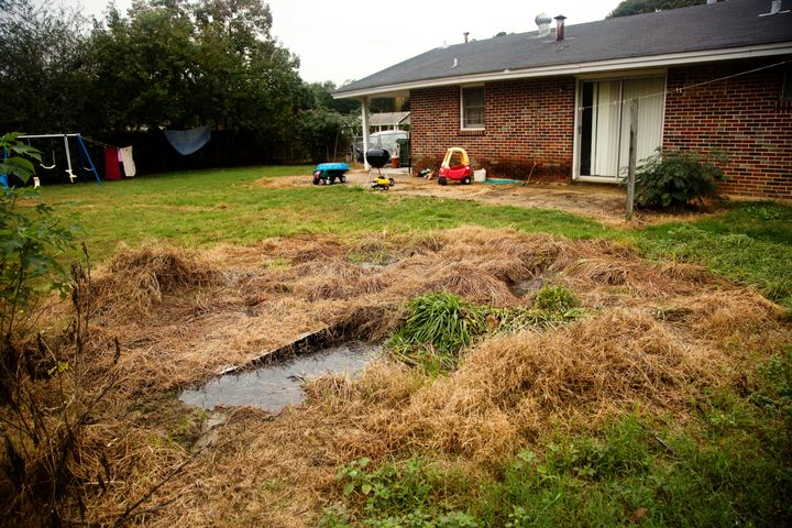 A house with a failing septic system, located on the border of Lowndes County and Montgomery County. Raw waste bubbles up fro