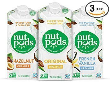 Made from almonds and coconuts, these dairy-free, soy-free, gluten-free, and unsweetened creamer alternatives called Nut Pods