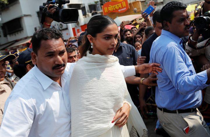 "Bollywood actor Deepika Padukone visits a temple before the release of her upcoming film ""Padmaavat"" in Mumbai, India Jan. 23"