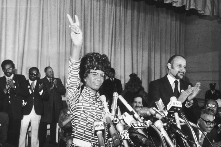 Shirley Chisholm announces her entry for Democratic nomination for the presidency on Jan. 25, 1972.