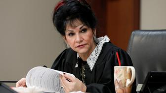 Circuit Court Judge Rosemarie Aquilina addresses Larry Nassar, a former team USA Gymnastics doctor, who pleaded guilty in November 2017 to sexual assault charges, during his sentencing hearing in Lansing, Michigan, U.S., January 18, 2018. REUTERS/Brendan McDermid