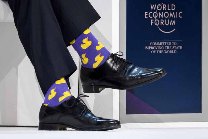 Trudeau sported socks with ducks on them.