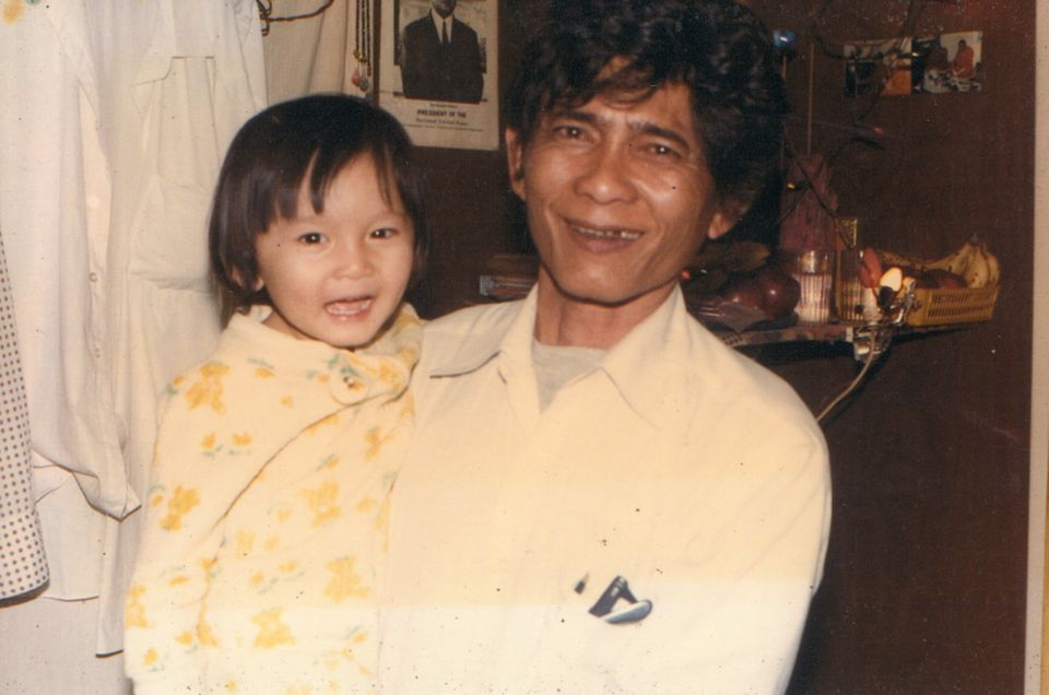 Phal Sok and his father are seen in a photo from the early