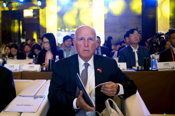 Jerry Brown attends meetings during the Clean Energy Ministerial International forum in Beijing on June 6, 2017.