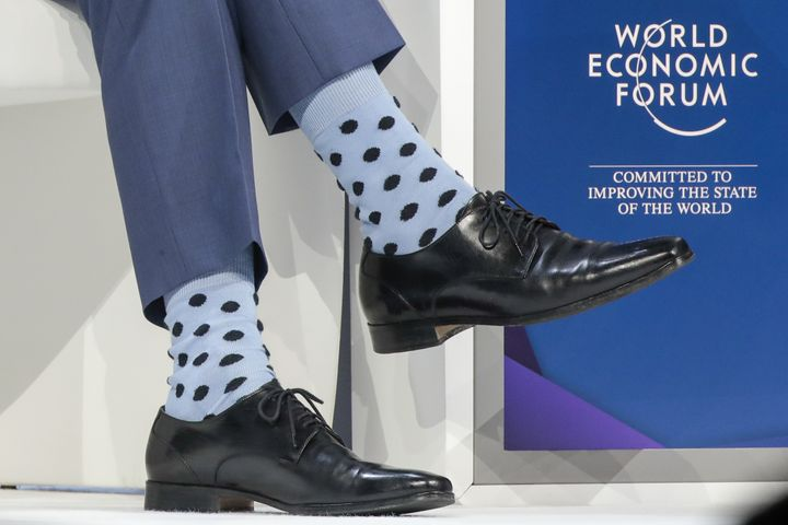 Trudeau's blue socks from the World Economic Forum session.
