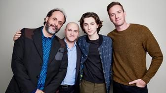 Michael Stuhlbarg, Timothee Chalamet, Armie Hammer and Luca Guadagnino of 'Call me by your name' pose for a portrait at the 55th New York Film Festival on October 4, 2017.  (Photo by Matt Doyle /Contour by Getty Images)