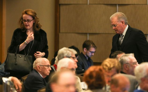 Billionaires Rebekah Mercer, left, and her father, Robert,at the Heartland Institute's annual...