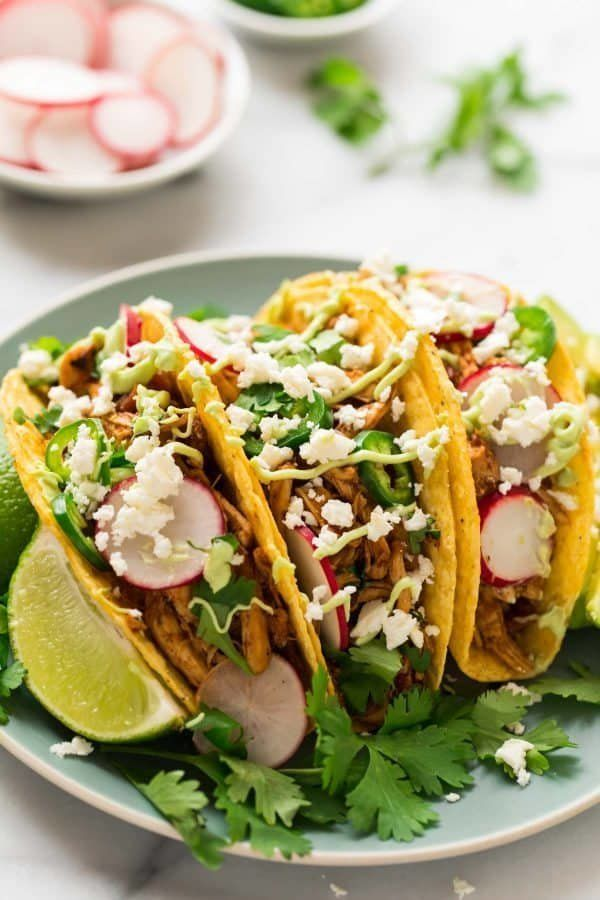 "<strong>Get the <a href=""https://www.wellplated.com/instant-pot-shredded-chicken-tacos/"" target=""_blank"">Instant Pot Shredded"