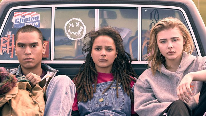"Forrest Goodluck, Sasha Lane and Chloë Grace Moretz in ""The Miseducation of Cameron Post."""