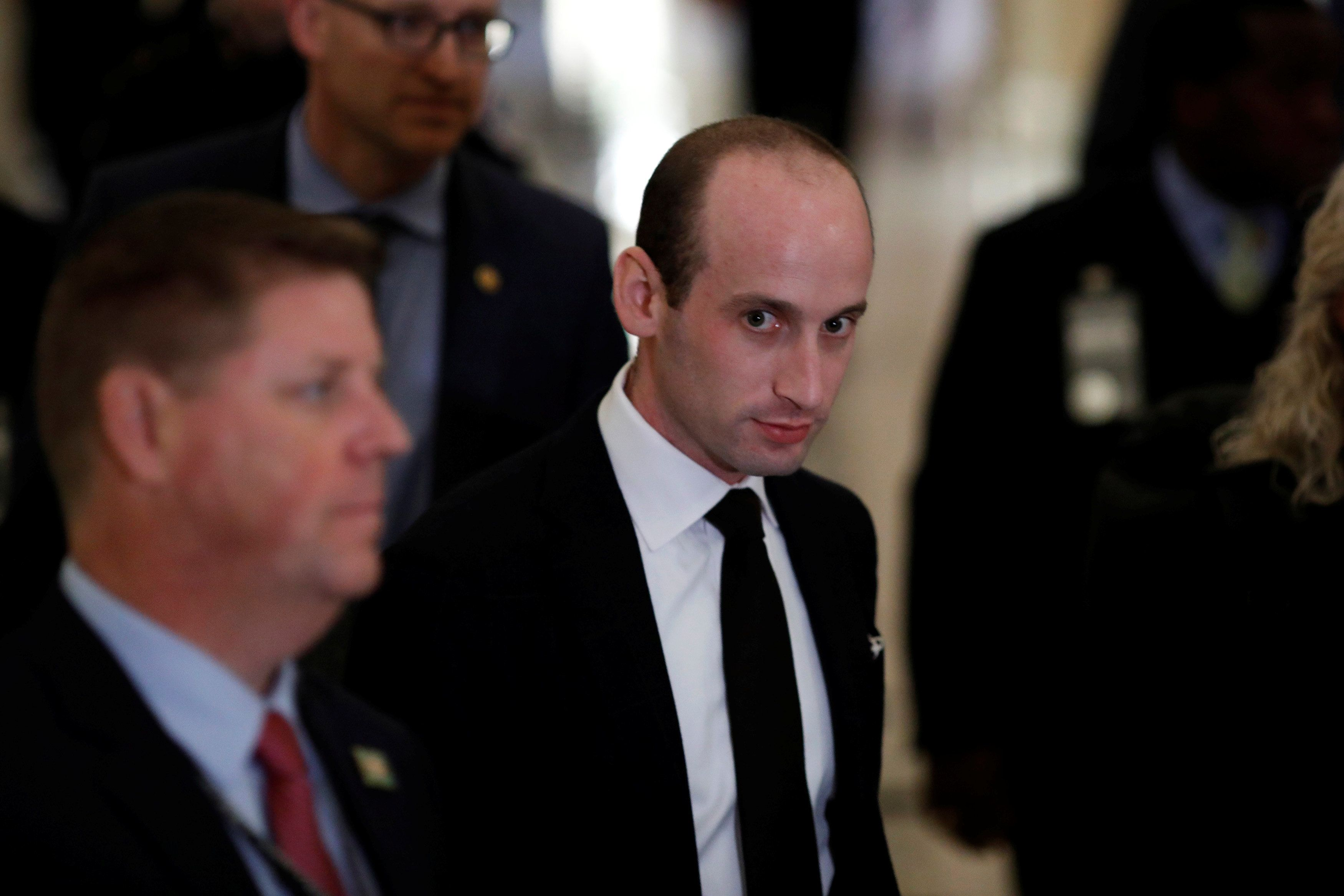 Stephen Miller, White House Senior Advisor for Policy, departs following a Congressional Gold Medal ceremony for former Senator Bob Dole at the U.S. Capitol in Washington, U.S., January 17, 2018. REUTERS/Aaron P. Bernstein