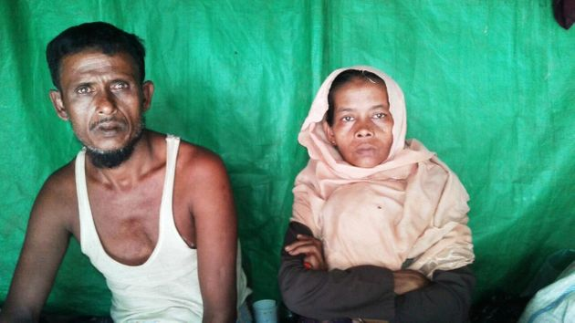 Modina Khatun and her husband in Kutupalong,