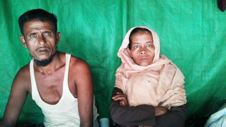 Modina Khatun and her husband in Kutupalong, Bangladesh.