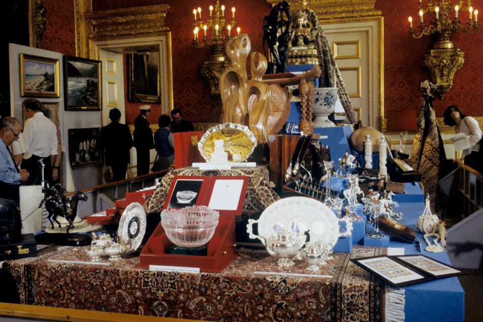 Wedding gifts for the Prince and Princess of Wales on display in the Throne Room at St James's Palace in London