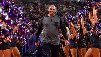 PHOENIX, AZ - JANUARY 12:  As part of their 50th season celebration the Phoenix Suns honor former player Charles Barkley before the game against the Houston Rockets on January 12, 2018 at Talking Stick Resort Arena in Phoenix, Arizona. NOTE TO USER: User expressly acknowledges and agrees that, by downloading and or using this photograph, user is consenting to the terms and conditions of the Getty Images License Agreement. Mandatory Copyright Notice: Copyright 2018 NBAE (Photo by Barry Gossage/NBAE via Getty Images)