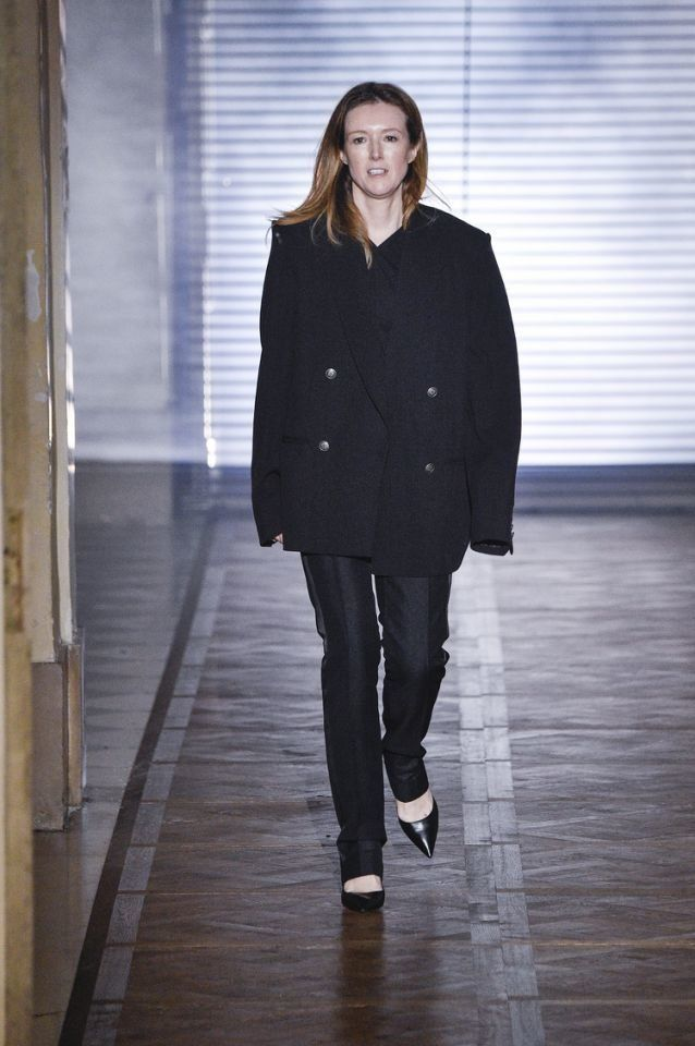 Creative Director Clare Waight Keller receives applause on Jan. 23, 2018, at the Givenchy spring/summer show during Paris Fashion Week.