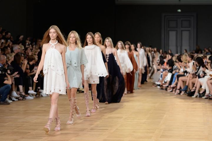 The finale of feminine frocks at the Chloé spring/summer 2015 show on Sept. 28, 2014, in Paris.