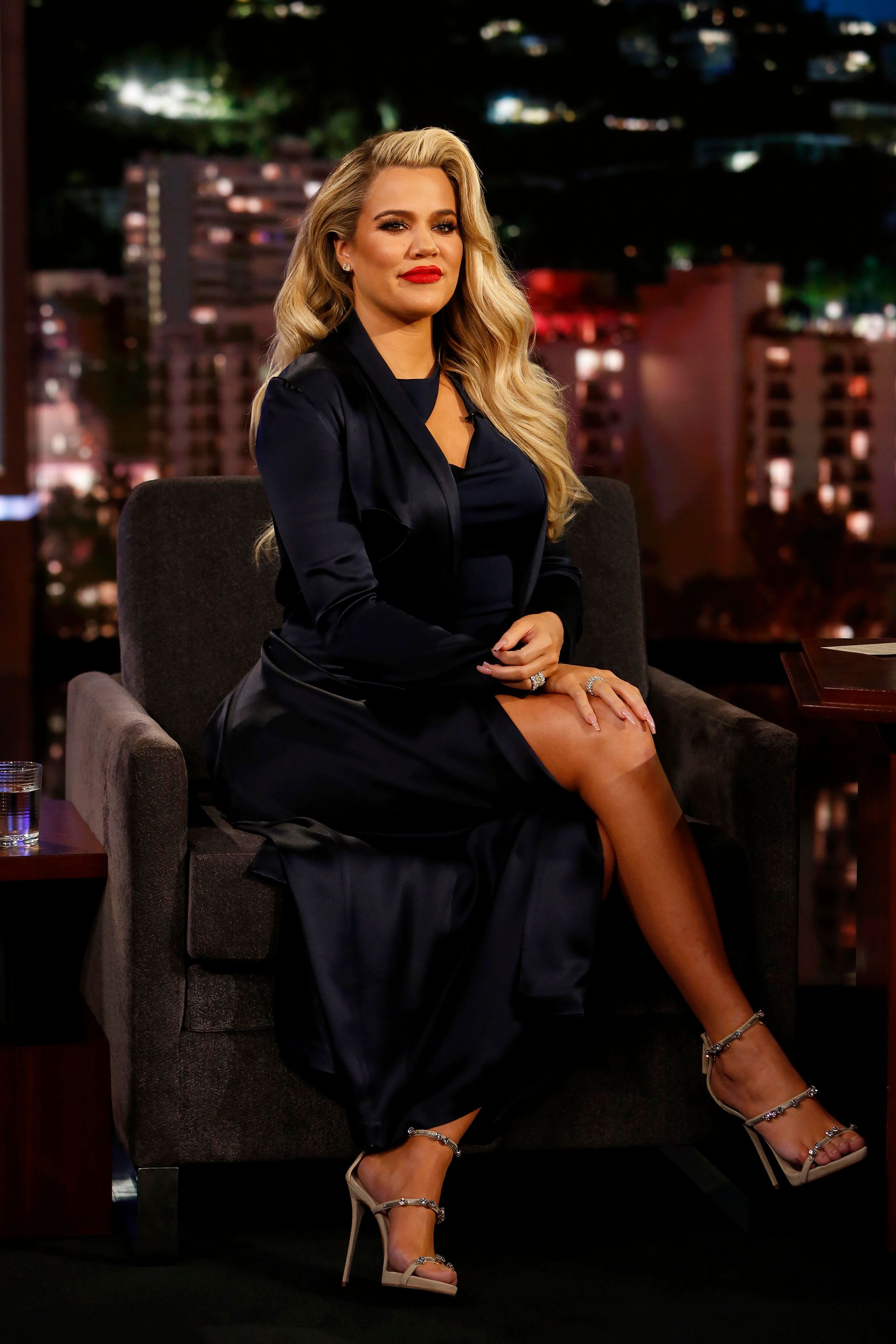 JIMMY KIMMEL LIVE! - 'Jimmy Kimmel Live!' airs every weeknight at 11:35 p.m. EST and features a diverse lineup of guests that include celebrities, athletes, musical acts, comedians and human interest subjects, along with comedy bits and a house band. The guests for Thursday, January 4 included Kobe Bryant ('Dear Basketball'), Khloe Kardashian ('Revenge Body') and musical guest Prophets of Rage. (Randy Holmes/ABC via Getty Images) KHLOE KARDASHIAN