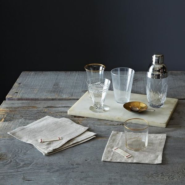 While you'reat it, swap out all of your paper cocktail napkins for reusable fabric ones. These heirloomed linen napkins