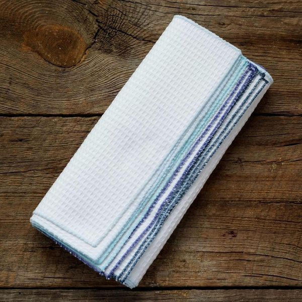 These textured kitchen cloths are perfect for capturing tough spills and messes, just like textured paper towels. They're mac