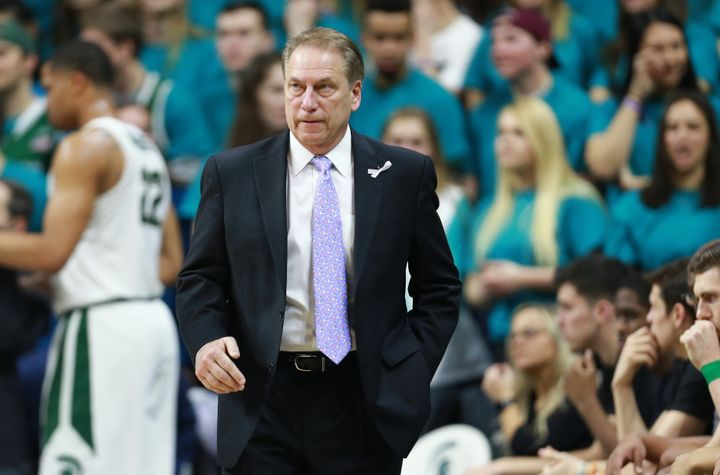 Tom Izzo, the head basketball coach for the MSU Spartans, watches the game against the University of Wisconsin