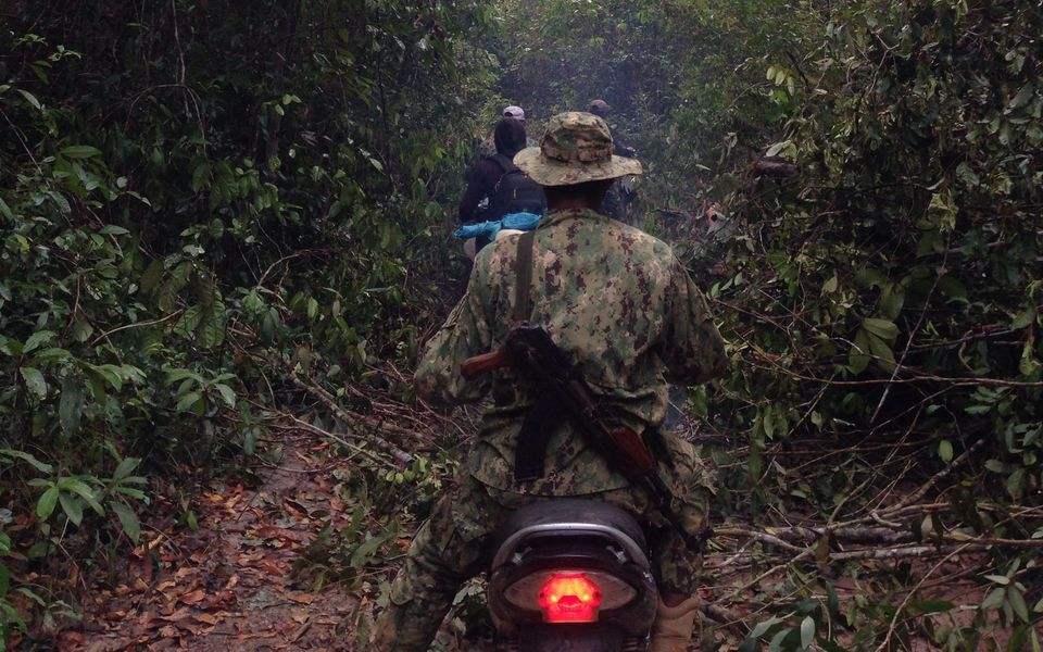 Members of the Prey Lang Community Network patrol the forest for illegal