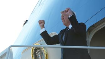 US President Donald Trump steps off Air Force One upon arrival at GreenvilleSpartanburg International Airport in Greer, South Carolina on October 16, 2017. Trump is in Greensville to attend a fundraiser for South Carolina Governor Henry McMaster. / AFP PHOTO / MANDEL NGAN        (Photo credit should read MANDEL NGAN/AFP/Getty Images)