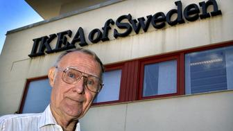 FILE PHOTO: Ingvar Kamprad, founder of Swedish multinational furniture retailer IKEA, is seen at company's head office in Almhult, Sweden August 6, 2002. TT News Agency/Claudio Bresciani via REUTERS/File photo      ATTENTION EDITORS - THIS IMAGE WAS PROVIDED BY A THIRD PARTY. SWEDEN OUT. NO COMMERCIAL OR EDITORIAL SALES IN SWEDEN